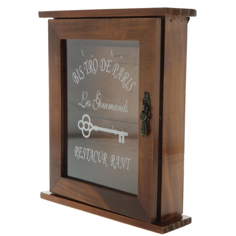 Vintage Style Wooden Wall Mount Key Holder Cabinet Rack Storage Box Hooks