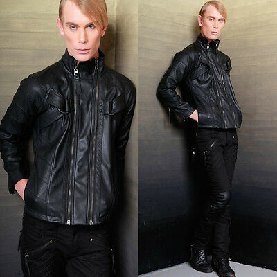 LIP SERVICE CYBER BIKER FAUX LEATHER GOTHIC MOTO CYCLE PUNK PVC GOTH COAT JACKET Clothing, Shoes & Accessories