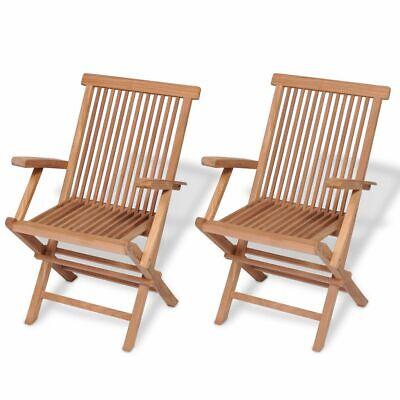 vidaXL 2x Teak Folding Chair Garden Outdoor Wooden Terrace Patio Balcony Seat✓ ()