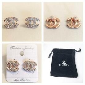 Chanel style earrings rose gold and diamanté