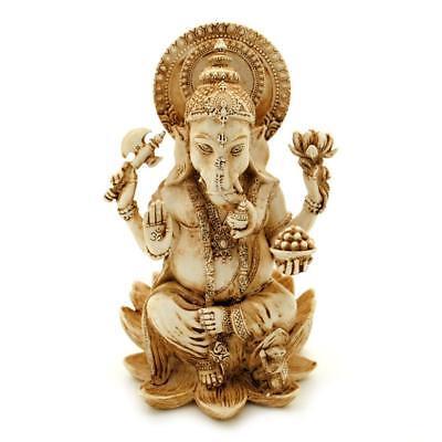 Ganesha Statue 4  Hindu Elephant God Ivory Color Resin Lord Of Success Ganesh