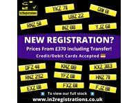 Short dateless Vehicle Number Plate from £370 including transfer. Matching pairs from £800