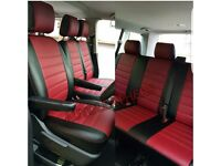 MINICAB LEATHER CAR SEAT COVERS FOR MERCEDES VITO RENAULT TRAFFIC FORD TRANSIT TOURNEO CUSTOM 9str