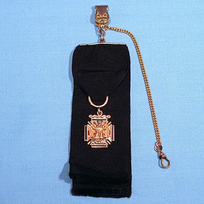 SOLID 14K YELLOW GOLD ENAMELED MASONIC FOB