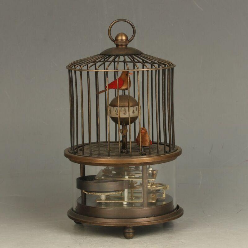 European Style Mechanical Clock Horologe- Brass Birdcage Shape Two Birds FL026