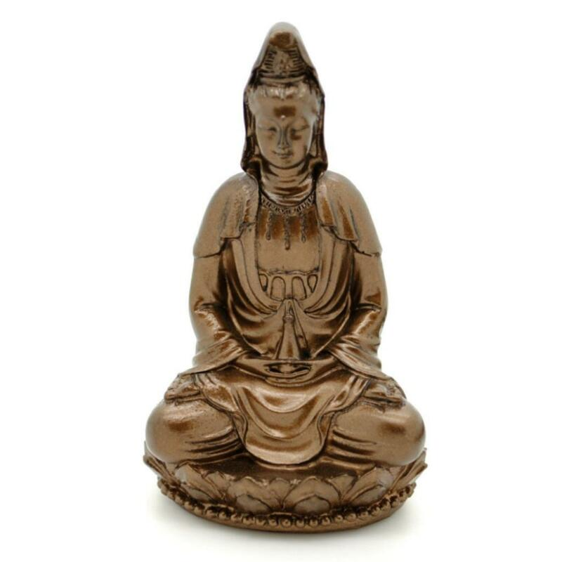 "KWAN YIN STATUE 3"" Buddhist Goddess HIGH QUALITY Bronze Resin Deity Guan Quan"