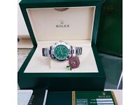 New Mens bagged and boxed silver bracelet green face Rolex Daytona automatic sweeping movement