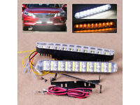 2 x 20 LED COB DRL SMD DAYTIME RUNNING LIGHTs DIAMOND WHITE & AMBER INDICATORS.*