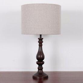 Black Candlestick Table Lamp With Tweed Style Herringbone Shade