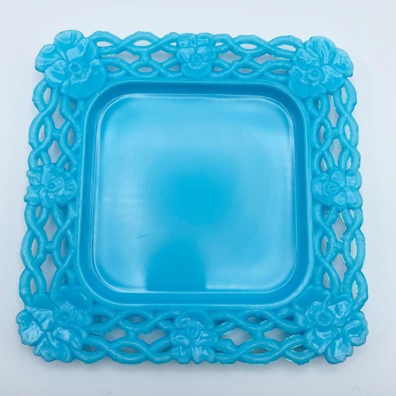 Blue Milk Glass Square Pansy Chain Border Plate Canton Glass