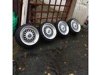 "17""x7.5j/8.5j et 38 5 stud BBS split rim style alloy wheels for corsa BMW vw etc with streched tyres"