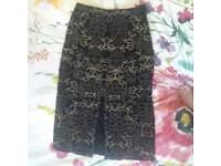 River Island beaded black slit midi skirt