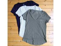 3 Gap vintage wash V-neck tees: heather grey stripe, khaki & navy - size medium - worn only once!