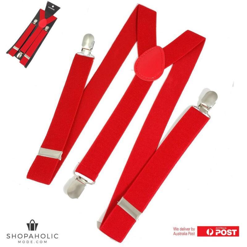 Mens Red Suspenders Braces Adjustable Strong Clip On Elastic Formal Wedding Slim