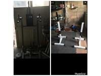 Squat rack adjustable and pull up dip station