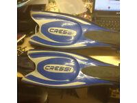 Cressi mask,fins...snorkel and gloves bundle