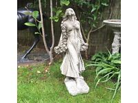 Stone garden garland lady statue, lovely detail. New