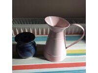 Pretty pink tin jug and pottery studio jar
