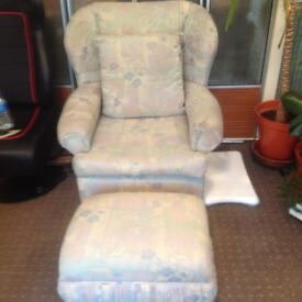 DELIGHTFUL ARMCHAIR WITH MATCHING FOOTSTOOL - GOOD CONDITION