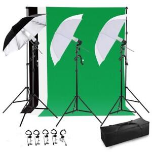 Photo Studio Lighting Kit with 3 Umbrella & 3 Backdrop stand Muslin - Free shipping Across Canada
