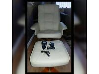 Cleveland Italian Leather Heat & Massage Chair and Stool
