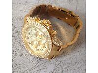 GOLD R OLEX DIAMOND WATCH