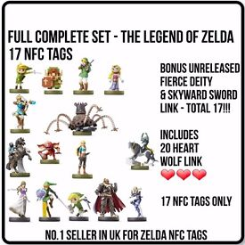 AMIIBO LEGEND OF ZELDA BREATH OF THE WILD FULL SET OF 17 NFC CARD TAGS INCLUDES FIERCE DEITY LINK!