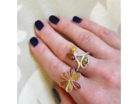 Amber & Sterling Silver Rings