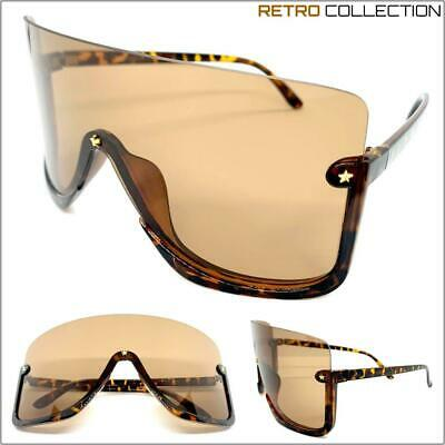 OVERSIZED 90's RETRO FACE SHIELD VISOR SUN GLASSES Huge Jumbo Big XL Brown (Huge Hipster Glasses)
