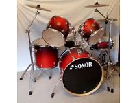 Sonor Drum Kit, Force 2005 Full Birch, sunrise colour, cymbals, stool, cowbell, soft cases