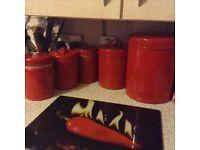 Red kitchen storage tins