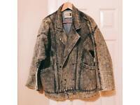 Unisex Vintage Style Oversize Denim Jacket Stripe Lining Big Pocket