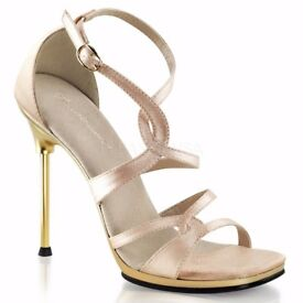 Pleaser Chic 46 Nude Satin / Gold Ankle Strap UK 4