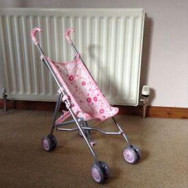 Girls Pink Toy Pushchair