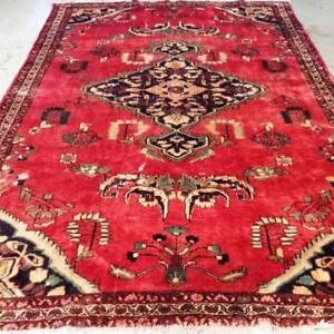 Lilihan Antique Persian Rug, Handmade Carpet, Wool, Red, Green, Beige, Brown and Black Size: 10.5 X 7 ft