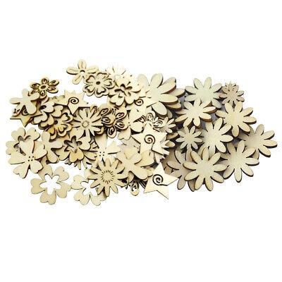 100 Stücke Unfinished Holz Holz Tags Blume Formen Holz Handwerk Ornamente ()