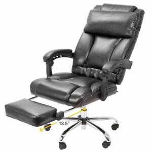 Barton Executive Reclining Office Chair Ergonomic High Back Leather Foot rest - BLACK OR BROWN - FREE SHIPPING