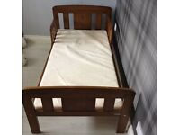 PINE FRAMED cHILD'S FIRST BED WITH MATTRESS