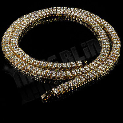 14k Yellow Gold 2 ROW Lab Diamond ICED OUT Chain Mens Hip Hop Tennis Necklace Chains Yellow Gold Jewelry