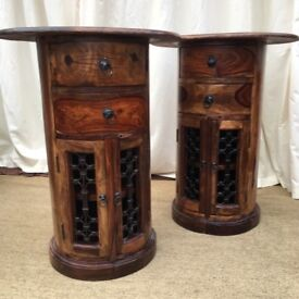 Maharajah Indian Dark Rosewood Bedside tables and two chairs | in Charlton Kings