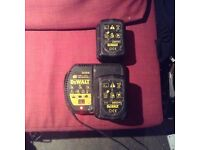 Dewalt 24 volt charger with two batteries