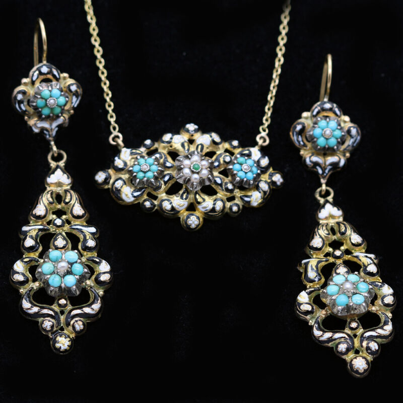 Antique Georgian Earrings Necklace Set Gold Turquoise Pearls Enamel French(6232)