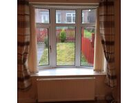 BROWN AND CREAM STRIPEY LINED RING TOP CURTAINS 66 X 72