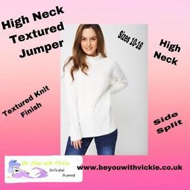 High Neck Textured Jumper