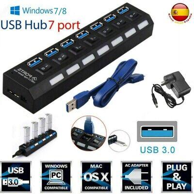 Carga rápida Multi USB Hub 7 puertos 3.0 Divisor de cable de...
