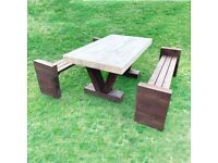 Garden Picnic Table / Rustic Look / 4ft, 5ft, 6ft / Free Delivery Norwich
