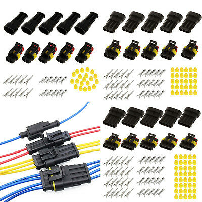 15 Kits 2 3 4 Pins Way Car Auto Sealed Waterproof Electrical Wire Connector Plug