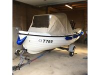 Orkney Spinner 13ft - Fishing/family boat - Hood, Mariner outboard engine, Snipe Trailer & winch.