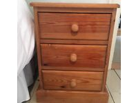 Two pine bedside units with 3 drawers. Height 56cm, width 42cm, depth 40cm
