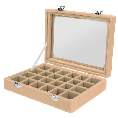 Jewelry Necklace Ring Earring Storage Display Box Organizer For Travel Beige